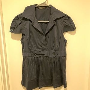 BCBGMaxAzria Navy Blue Cap Sleeve Blouse Top